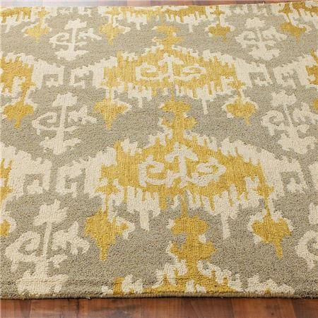 Hand Hooked Gray and Gold Ikat Rug - Shades of Light