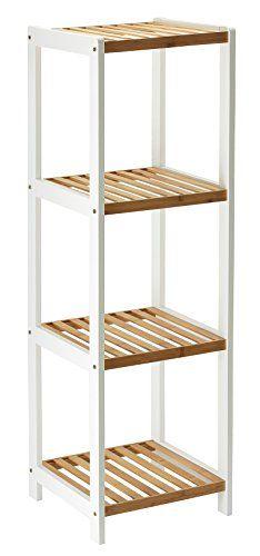 Orolay Modernes Bambus Regal Standregal Mit Vier Böden (Ecru)
