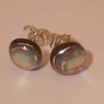 small dusky pink fused dichroic glass stud earrings - Jola Glass [Chipping Campden]