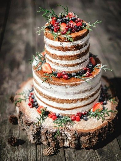This is perfect! It has frosted berries, a foresty aspect, and the crumb coat makes it look rustic!