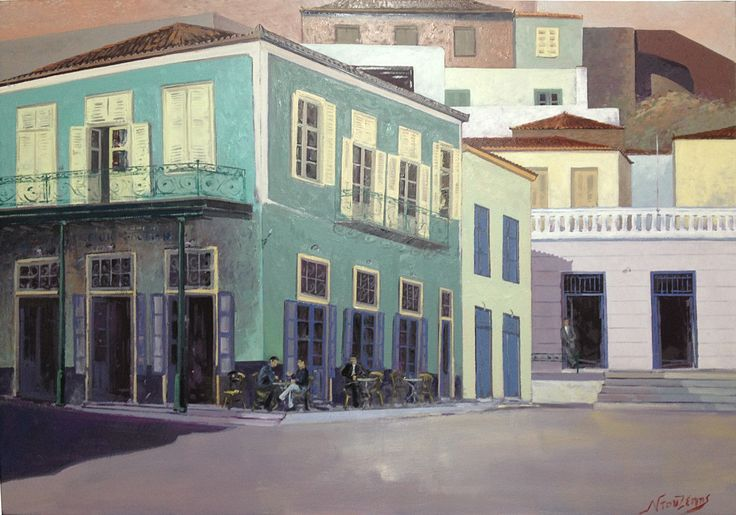 ''Vintage Cafe'' oil painting on canvas by B abis Douzepis100x70 cm