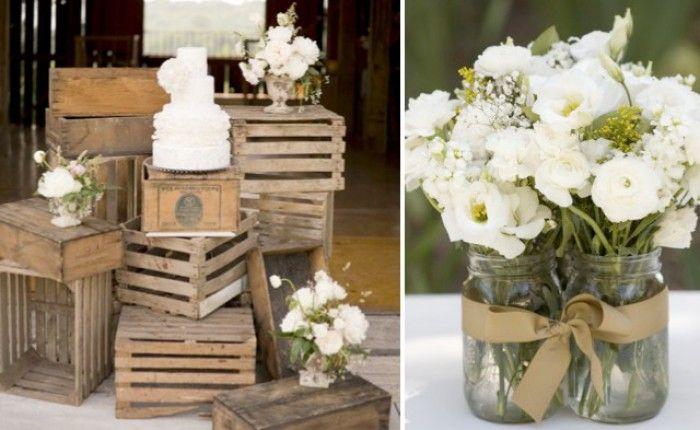 Rustieke en eenvoudige decoratie voor huwelijk of ander feest