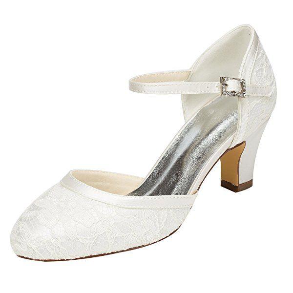 Emily Bridal Seide Hochzeit Schuhe Vintage Round Toe Mary Jane Brautschuhe Elfenbein Hochzeit Gast Schuhe
