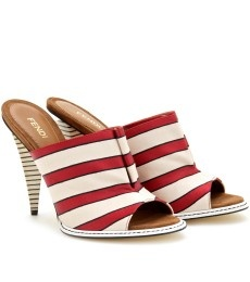 FendiFabrics Mule, Fendi Stripes, Red Stripes, Fendi Shoes, Fendi Sandals, Stripes Fabrics, Stripes Fendi, Stripes Mule, Shoes Sandals