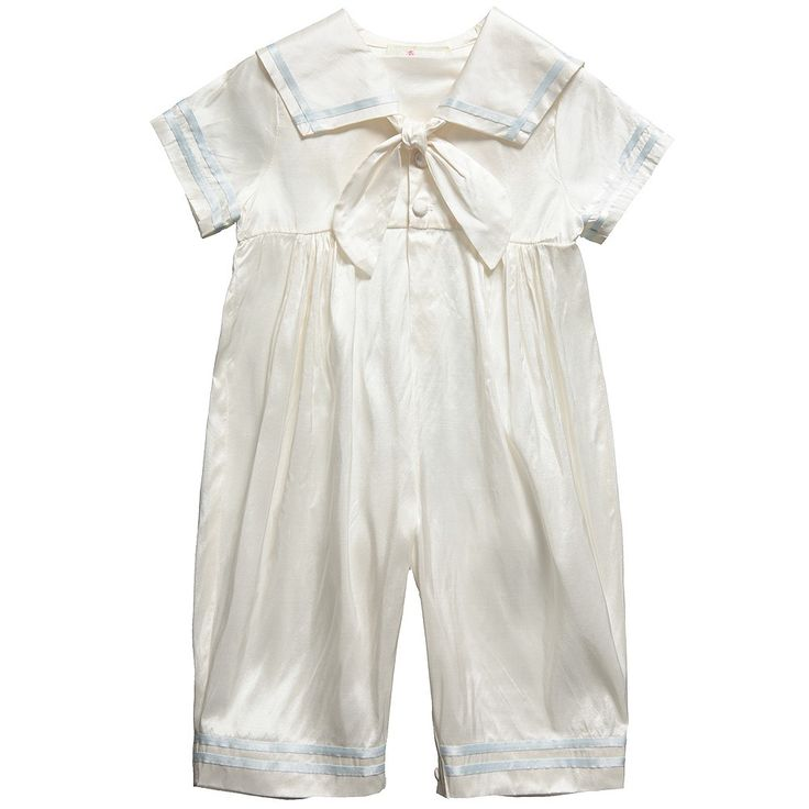 ANGELS  FISHES Baby Boys Ivory Silk Sailor Suit with Pale Blue Trim