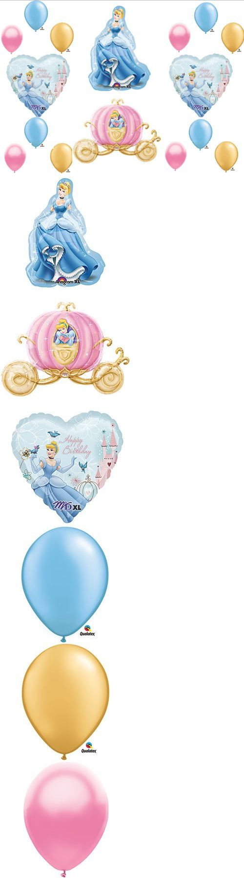 Cinderella Disney Princess Birthday Balloon Decorations Supplies 16 piece set