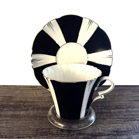 Vintage Royal Albert Tea cup and Saucer Black and White Stripes #RoyalAlbert #Teacup #Teacups #TeacupandSaucer #VintageRoyalAlbert #Vintage #VintageTeacup #Collectible #Blackandwhite #Stripes #Gorgeous #Etsy