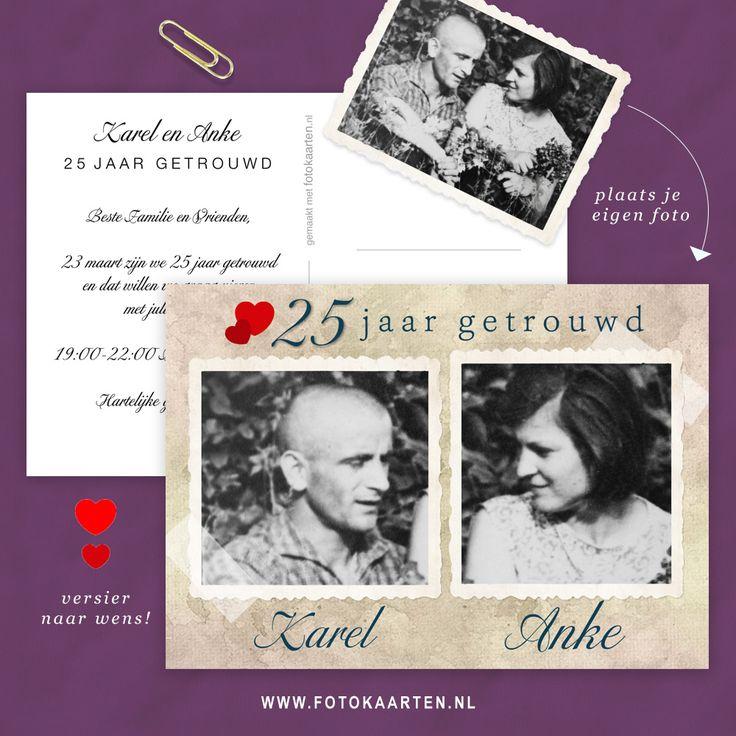 Maak een mooie jubileumkaart in vintage stijl. Hoe doe je dat? Kies een leuke foto. Ga naar Fotokaarten.nl om hem up te loaden. Kies een leuk fotolijstje uit en versier je kaartje met hartjes, ringen en andere dingen. Het is heel envoudig.