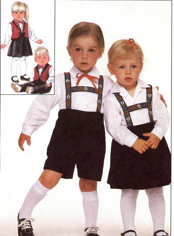 Kids Lederhosen Pattern German Style Bavarian Outfits For