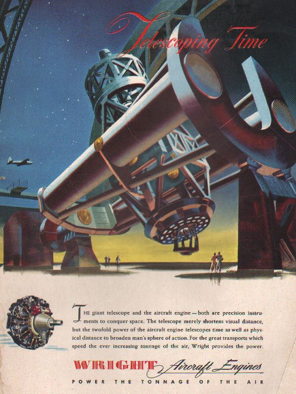 1943 WW2 AD WRIGHT AIRCRAFT ENGINES  Art Huge Mt.Palomar Telescope Nice ! 031617