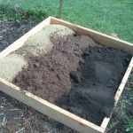 box for square foot gardening with vermiculite, peat moss, and mushroom compost