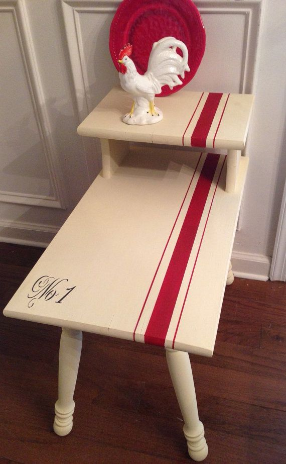 Vintage Wood Side Table Hamd Painted In by ColorfulHomeDesigns