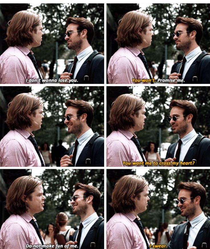 """You want me to cross my heart? I swear"" - Matt and Foggy #Daredevil"