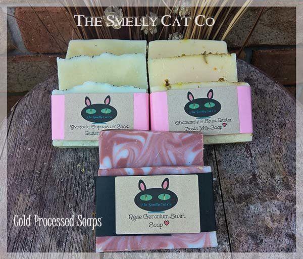 Rose Geranium, Avocado, Cupuacu & Shea Butter, Chamomile & Shea Butter Goats Milk 3 Pack of Cold Processed Soaps, AU$12.95