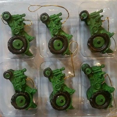 Mini Resin Green Tractor Christmas Ornament / Cake Topper / Crafts NEW