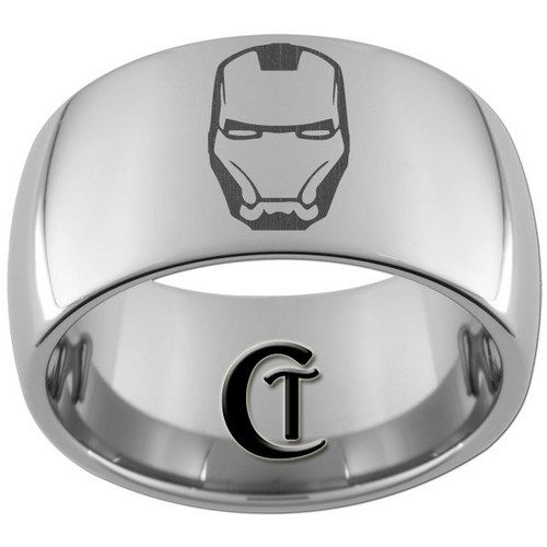 iron man rings | 12mm Dome Tungsten Carbide Laser IRON MAN Design Ring Sizes 5-15