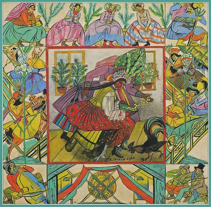 "Zofia Stryjeńska (Polish, 1891-1976), 'Before The Wedding Ceremony (Kraków)', part of the ""Slavic Customs"" set, c. 1934."