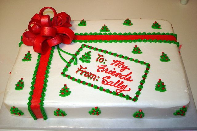 Fondant Bow Christmas Sheet Cake by katyskakes, via Flickr
