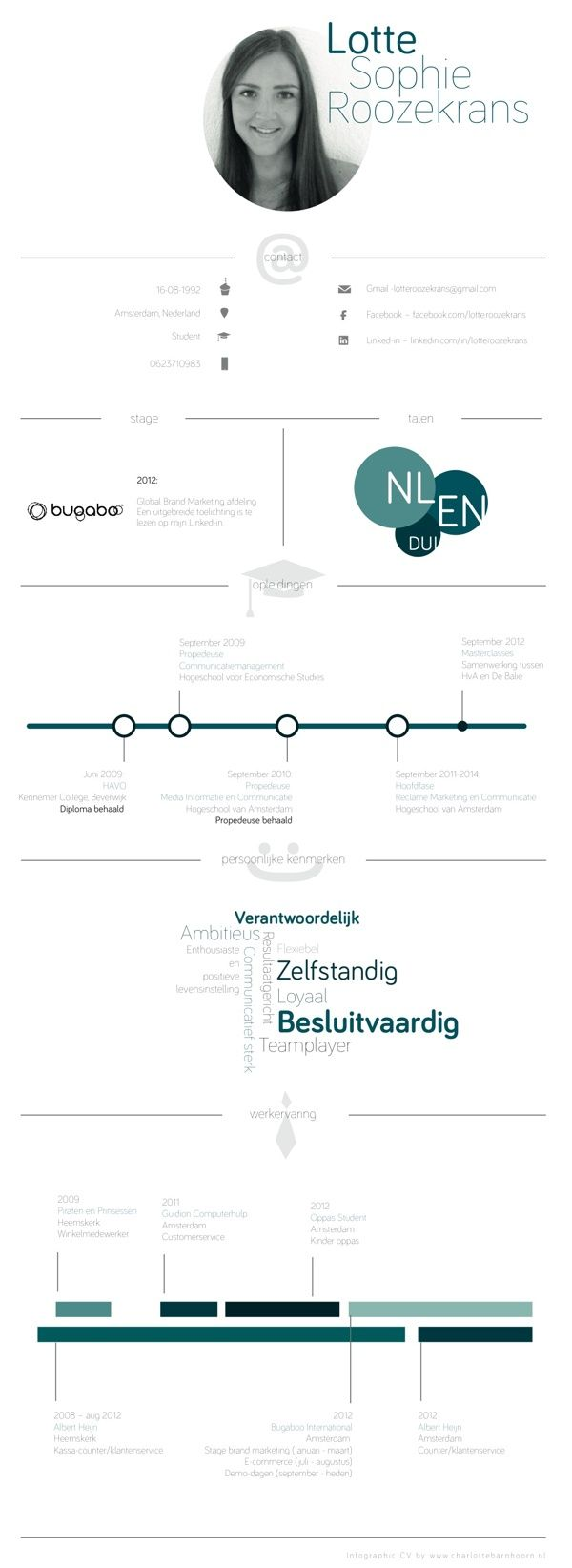 Curriculum Vitae by Lotte Sophie Roozekrans, via Behance
