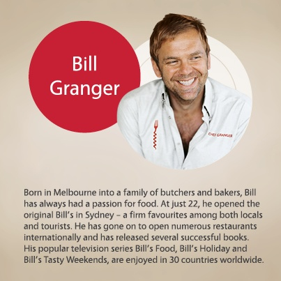 Bill Granger is a self-taught cook, whose easy-going and joyful approach to cooking has made him the popular chef that he is.