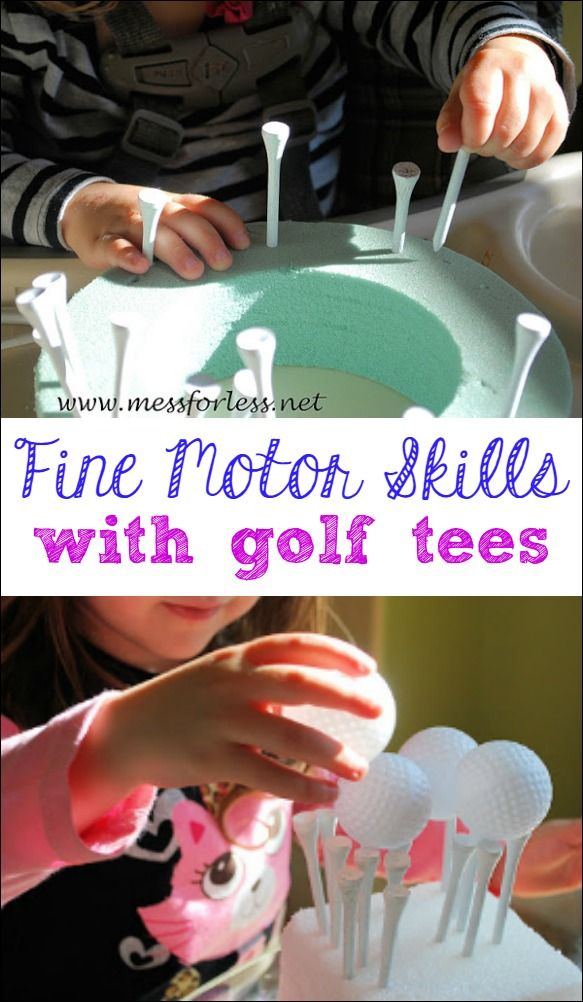 Watch how much fun kids can have while practicing their fine motor skills. Try this easy to set up fine motor work with golf tees with your little ones.