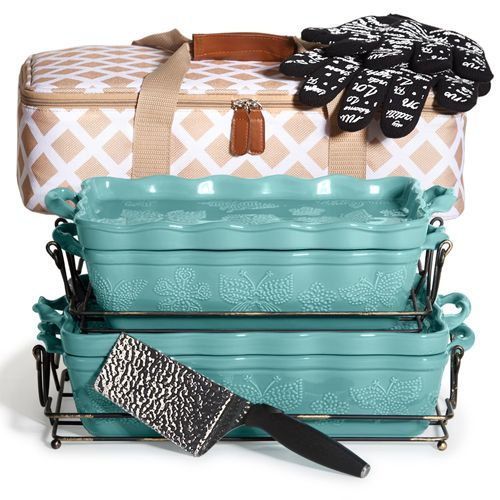 All A Flutter in Teal!!! Love It!!! Tara At Home #taraathome #bakeware #stoneware #temptations