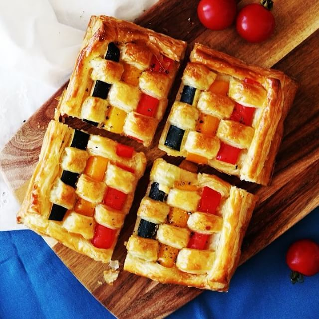 veggie puff pastry lattice, great for a party appetizzer
