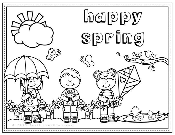 Happy Spring Free Spring Coloring Page Printable For Kids Spring Coloring Sheets Spring Coloring Pages Coloring Pages For Kids