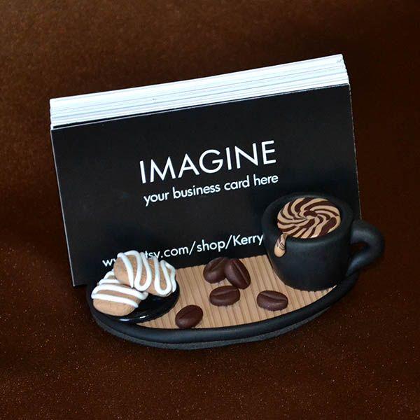 Coffee Shoppe business card holder $30 www.etsy.com/shop/KerrysArtGarden