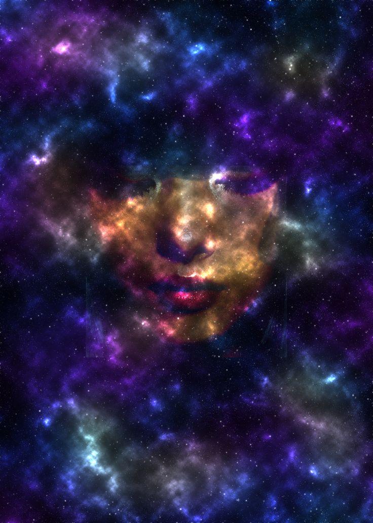Digitale schets. Een gezicht in de ruimte.