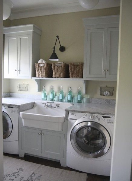 love this laundry room.   Clean in all white and my favorite sink!!!!!!  Love it.   A girl can dream about laundry rooms?  Heck, yes!!!!  I dream about every room from the kitchen, to my outdoor bath, to sunny bedrooms, and let us not forget my enormous his and hers closet.  More so....I am dreaming about when the HIS is coming into my life as well. http://media-cache2.pinterest.com/upload/117867715217100580_pG417Rlz_f.jpg agirliegirl covet