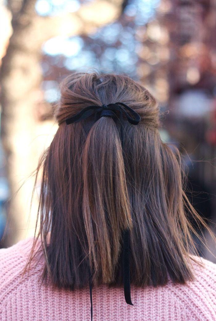 black velvet ribbon, half up hairstyle, fashion, pink jumper, hair, style, long bob