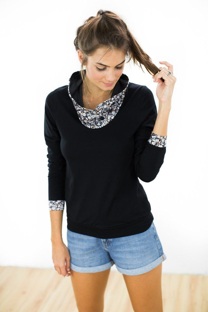 """Top Flores Black Floral Elegant top crafted from a black cotton jersey fabric. The """"Flores"""" top has a raised floral jersey collar with black and white polka dot fabric inside. The same floral material is also found on the cuffs. http://shoko-shop.com/collections/new-in/products/top-flores-black-floral"""