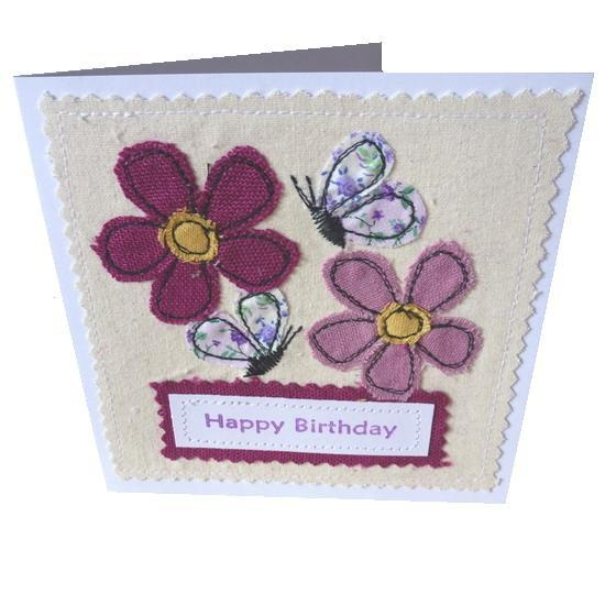 Applique Butterfly and flower Birthday textile card £3.50 great for mothers day,birthday alternative invite