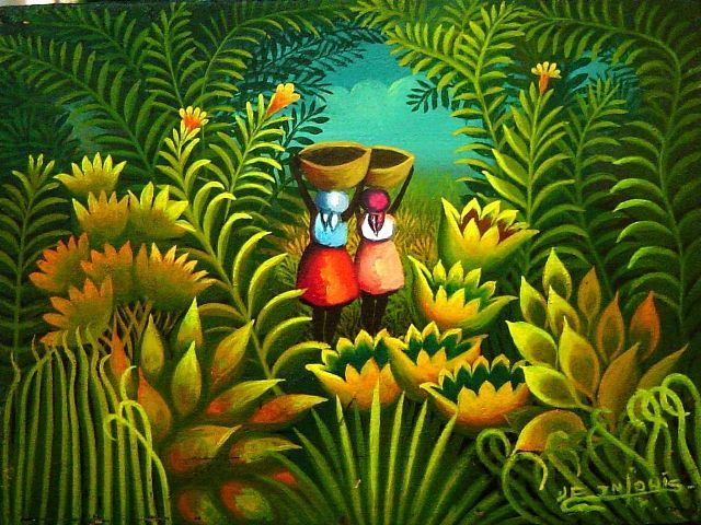 """Original Haitian Painting by Jn-Louis, Eric 6""""x8"""" Les 2 Marchants Oil on Board #5MFN Collector's Item $750 - See more at: http://www.naderhaitianart.com/orhaarjner6x2.html#sthash.xMic6rcc.dpuf"""