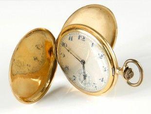 112 Taschenuhr Gold, 18 ct.. Ø 5 cm.