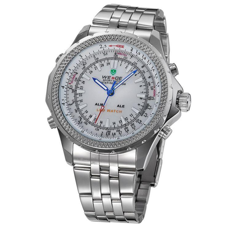 """Горящие товары - Купить """"2015 люксовый бренд вайде мужчины военный часы мужские кварцевые цифровые часы полный стали наручные часы мужчин спортивные часы водонепроницаемый"""" всего за 12883.2 RUR."""
