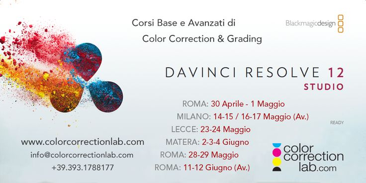 Corsi DaVinci Resolve – primavera 2016 » Color Correction Lab