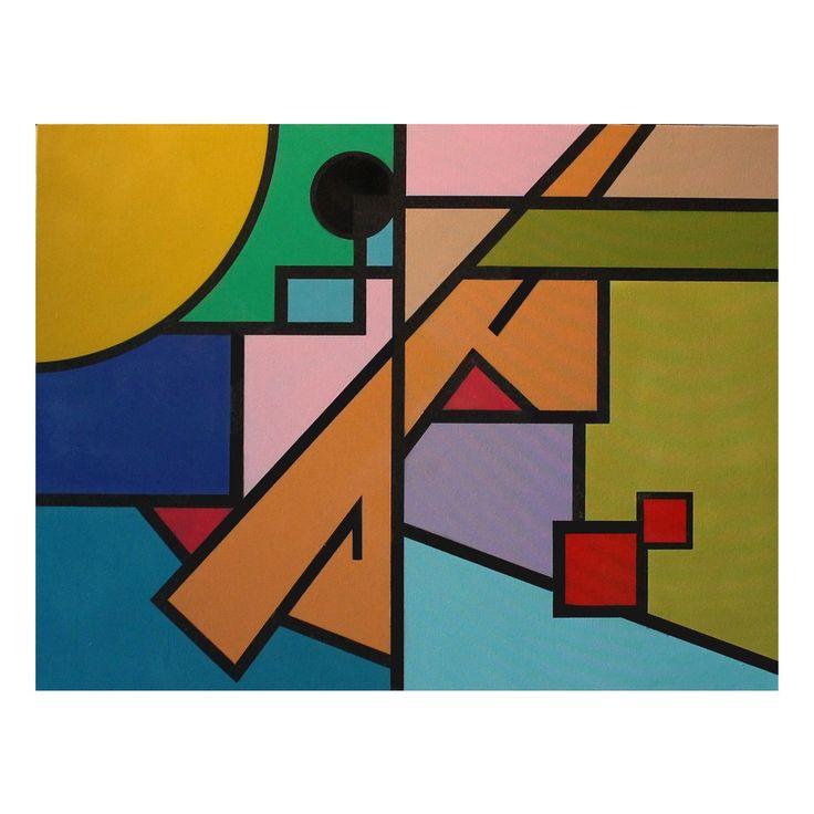 Geometrisch abstract schilderij, gemengde techniek op canvas 'Sunrow' door Benjamin   Kunstvoorjou.nl #schilderij #kunst #abstract #muurdecoratie #kunstvoorjou #benjamin