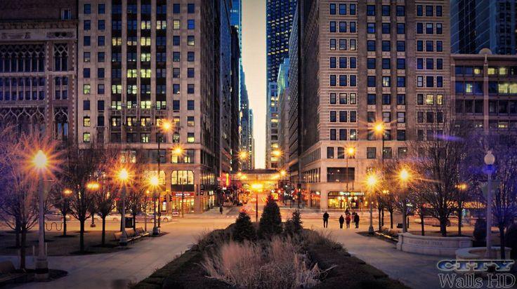 Straße der Stadt mit einer kriminellen Gangster Gleichgesinnten Chicago am Lake Michigan.