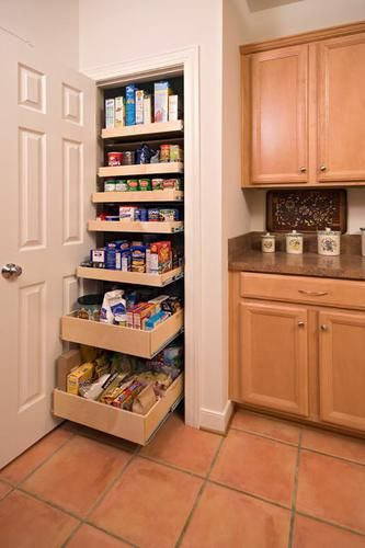 Storage for a small pantry closet.