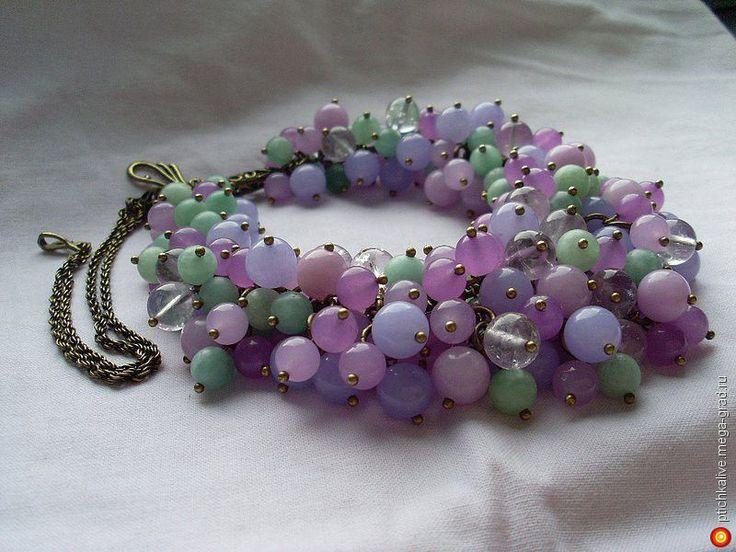 Цветы лиловые полей. Колье объемное с аметистом - украшения из камня, авторское колье/ожерелье. МегаГрад - город мастеров