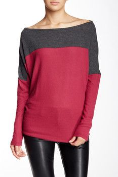Go Couture Vintage Knit Colorblock Sweater
