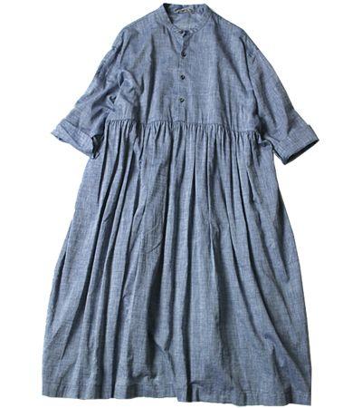 45R Online Storeku・Ra・siインディゴワーキングシャツワンピース: Lady's