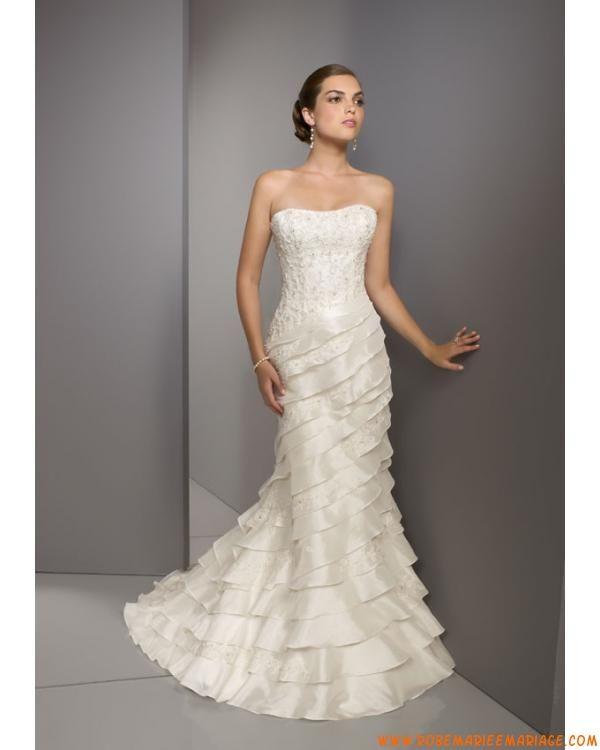 robe de mariée en taffetas au drapé lacets dans le dos sans bretelle