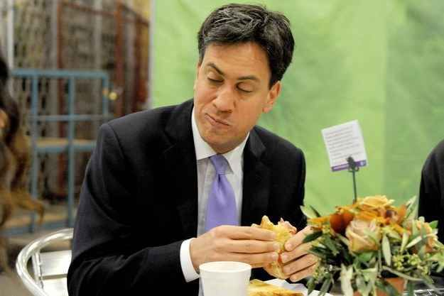 Still, Ed Miliband found himself in this position while out campaigning on Wednesday morning.
