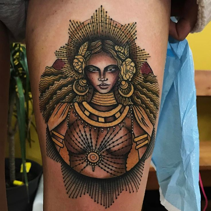 "956 Likes, 60 Comments - Tammy Kim (@tammykimtattoo) on Instagram: ""Queen B channeling the goddess, Oshun! Thankyou so much Sahla!"""