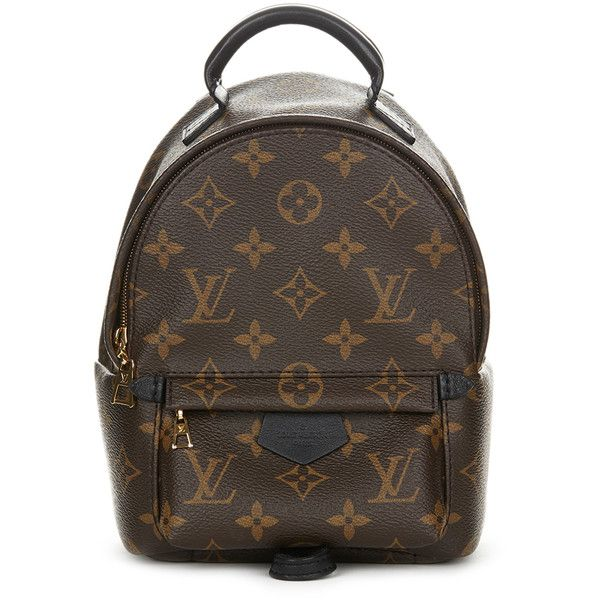 Pre-Owned Louis Vuitton Brown Monogram Coated Canvas Palm Springs... ($2,749) ❤ liked on Polyvore featuring bags, backpacks, brown, colorful backpacks, mini crossbody bag, louis vuitton crossbody, strap backpack and monogrammed crossbody