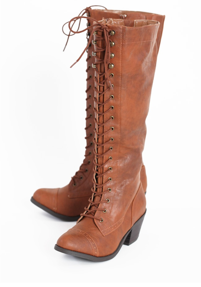 "Countryside Adventure Lace Up Boots 68.99 at shopruche.com. Fall in love with these whiskey hued leatherette boots crafted with lace up details, side zipper closures, and a faux stacked heel., , All man-made materials, 2.5"" heel, 15.25"" shaft: Shoes Boots Sandals, Fabulous Shoes, Boots 68 99, Adventure Lace Up, Style, Countryside Adventure, Lace Up Boots, Clothes Nails Shoes, Lace Up Shoes"
