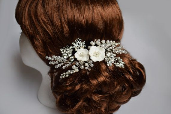 Wedding hair piece with Rhinestone Wedding by Mkedesignwedding